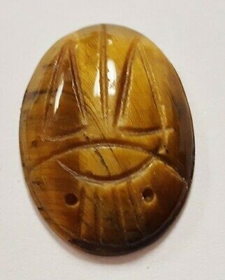 1 VINTAGE JAPANESE GENUINE TIGER EYE GEMSTONE 25x18mm. OVAL SCARAB    N136