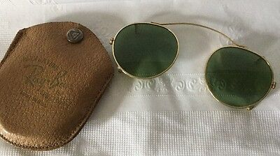 Vintage RAY-BAN BAUSCH & LOMB Clip On Sun Glasses w/ Case 1960s USA AVIATOR