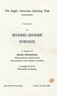 Manchester Bruce Woodcock Private Boxing 1969 Fight Dinner Menu Boxing Programme