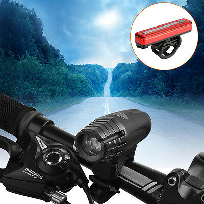 Bicycle Rechargeable Front Light Bright LED + Rear Tail Waterproof Lamp CS520