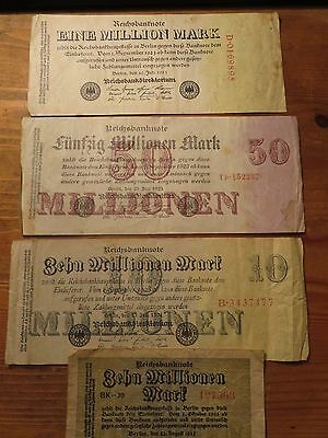 1923 Germany  Four Vintage Banknotes 1,10,50 Millions Mark