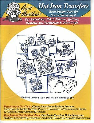 New Aunt Martha's 3698 Embroidery Hot Iron on Transfers Patterns Flowers