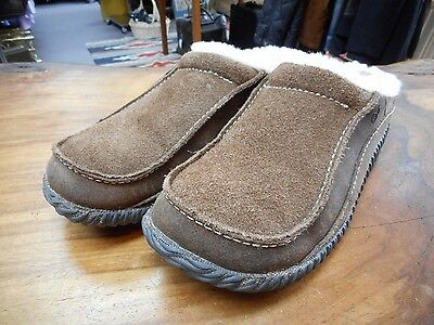 Acorn Men's Brown Suede Sheepskin Slippers Shoes Size 8