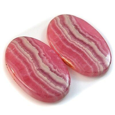 Natural Rhodochrosite Oval Cabochon Pair Collection