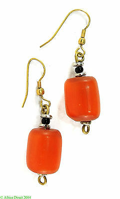 Earrings Amber Color Trade Bead Africa