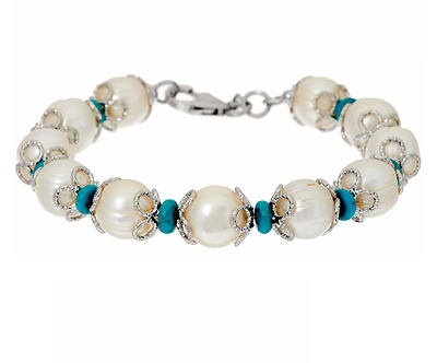 """Honora Cultured Pearl 11.0 Mm And Turquoise White-Colored Bronze 8"""" Bracelet Qvc"""