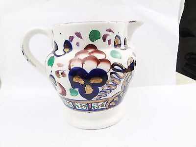 Antique Early Victorian Gaudy Welsh  Jug Milk Cream Water Pottery