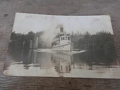 """Postcard RPPC 1910 Steamboat """"Coquille"""" Operated from Bandon to Coquille, Oregon"""