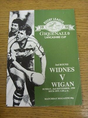 02/09/1990 Widnes v Wigan [Lancashire Cup] Rugby League Official Programme (fold