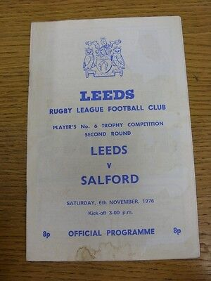 06/11/1976 Leeds v Salford [Players No.6 Competition] Rugby League Official Prog