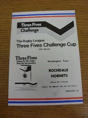 15/02/1981 Workington Town v Rochdale Hornets [Challenge Cup] Rugby League Offic