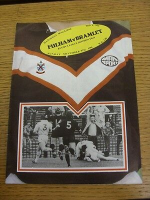 09/11/1980 Fulham v Bramley [At Craven Cottage] Rugby League Official Programme