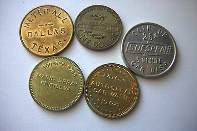 Car Wash  Token  Assortment -  5 Different Car Wash Tokens