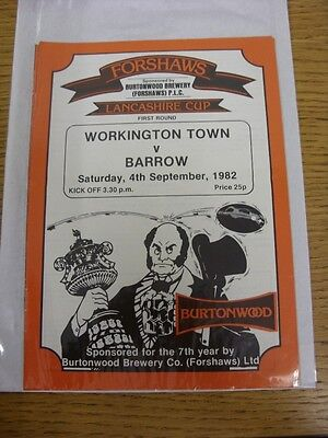 04/09/1982 Workington Town v Barrow [Lancashire Cup] Rugby League Official Progr