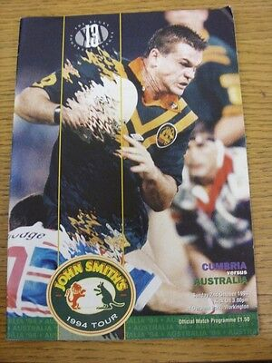 02/10/1994 Cumbria v Australia [At Workington] Rugby League Official Programme (