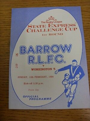 12/02/1984 Barrow v Workington Town [Challenge Cup] Rugby League Official Progra