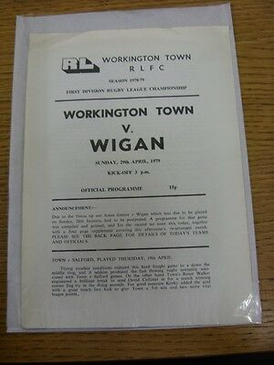 29/04/1979 Workington Town v Wigan [Programme Dated 28/01/1979 With Four Page Up