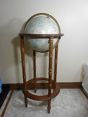 "Vintage USSR Era 12"" Cram's Imperial World Globe w/ Wood Floor Stand  Nice Decor"