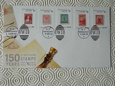 2005 New Zealand 150 Years Of Stamps - 3 First Day Covers