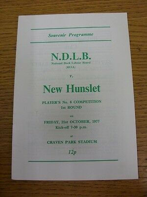 21/10/1977 National Dock Labour Board v New Hunslet [Players No.6 Competition] R