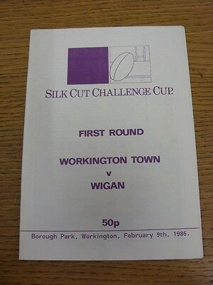 09/02/1986 Workington Town v Wigan [Challenge Cup] Rugby League Official Program