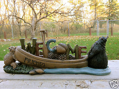 BLACK BEAR WELCOME RESIN figurine bears COTTAGE 12 X4.5IN. SPRAWLED BEAVER