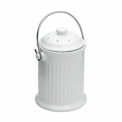 Fox Run Odor Absorbing Compost Keeper Bin with Charcoal Filter and Lid White