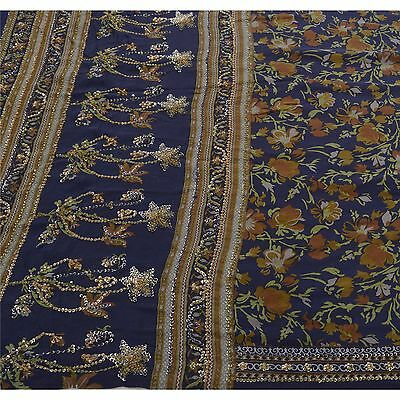 Sanskriti Antique Vintage Saree 100% Pure Crepe Silk Hand Beaded Blue Fabric