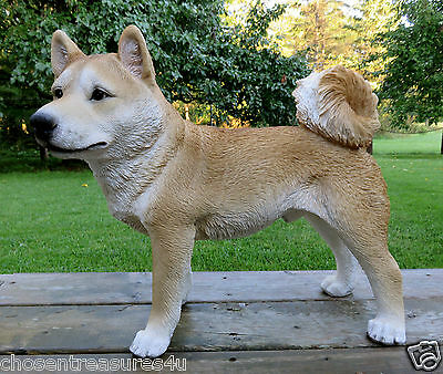 "SHIBA INU DOG FIGURINE resin animal Statue PET COUNTRY DECORATION 16.5"" H X 19""L"