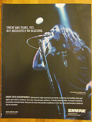 The Black Crowes, Chris Robinson, Shure Microphones, Full Page Promotional Ad