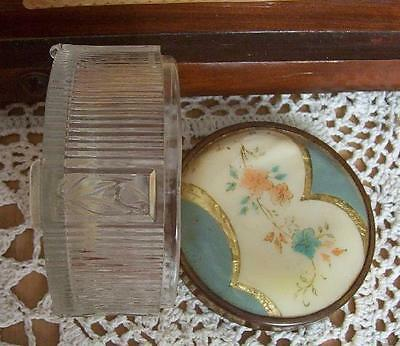 Vintage Powder, Trinket, Jewelry Jar Embossed Glass with Celluloid Lid