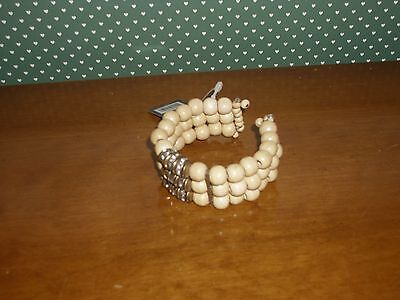 Global & Vine Beige Beaded Bracelet With Brass/jewel Ornament-New