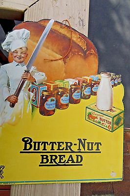 Butter-Nut Bread Hanging Grocery Store Sign Little Boy Baker circa1930