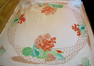 Vintage ROSEMARY Tablecloth Sea Beach Conch Shells Netting Coral Fish Net