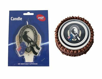 Set Of 2 Collingwood Magpies Afl Football Team Logo Candle + Edible Cake Topper