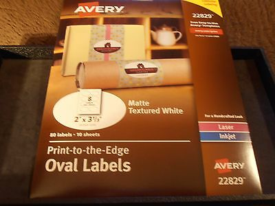 Avery 22829 print to the edge oval 80 labels matte textured white 10 sheets