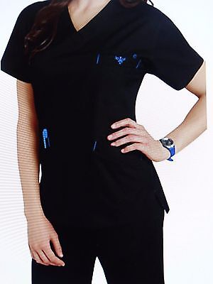 Med Couture Women's Scrub Set(Top Style#8403/Pant #8724) Black/Pacific Large NWT