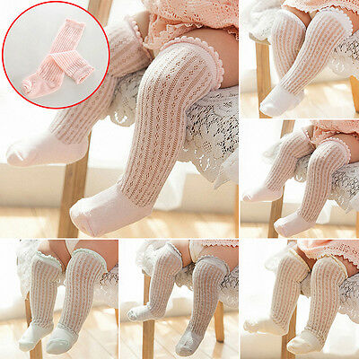 Toddler Baby Girl Knee High Long Socks Cotton Hollow Out Stockings 5 Colors