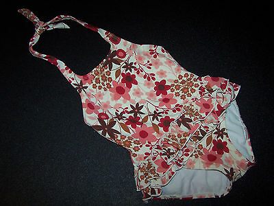 JANIE & JACK Pink & Brown Floral Ruffled Halter One Piece Swim Suit Size 3T
