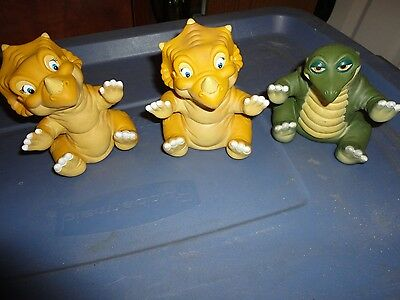 1988 3 Land Before Time Dinosaurs Plastic/Vinyl Hand Puppets from Pizza Hut