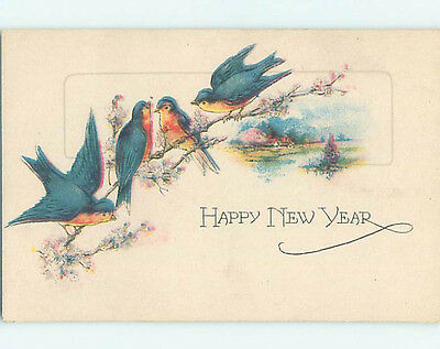 Pre-Linen new year FOUR BIRD SITTING ON FLOWERING BRANCH HQ7858