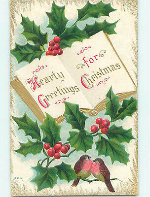 Pre-Linen christmas GUILT EDGED BOOK ON POSTCARD WITH BIRDS AND HOLLY HQ7192