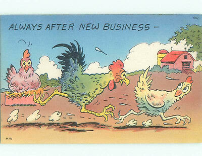 Unused Pre-Chrome comic ROOSTER CHASES CHICKEN - ALWAYS AFTER NEW BUSINESS J3743