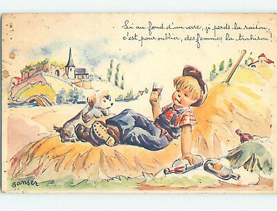 Unused Pre-Chrome foreign signed DOG WATCHES FRENCH BOY DRINKING WINE J4849