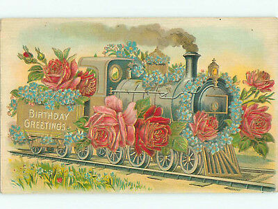 Pre-Linen fantasy OLD STEAM LOCOMOTIVE TRAIN COVERED WITH ROSE FLOWERS J3374