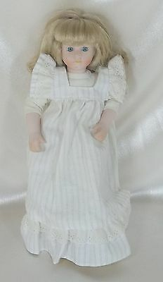 """Vintage Collectible 11""""  Porcelain  & Cloth Doll Blonde Hair  - Un-Marked"""
