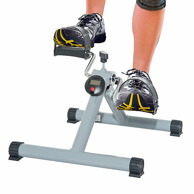 Mini Pedal Fitness Exerciser Cycle Leg Arm w/ LCD Display Home Gym Foldable Grey