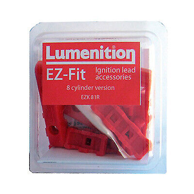 Lumenition E Z Fit Plug Lead Clamps 8 Cylinder Race Rally - Red