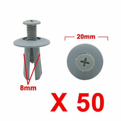 50Pcs Gray Car Plastic Rivets Trunk Door Bumper Screw Fastener Clip 8mm