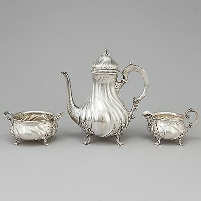 Solid silver coffee set, 3 items. Rococo. Norway, late 19th century.